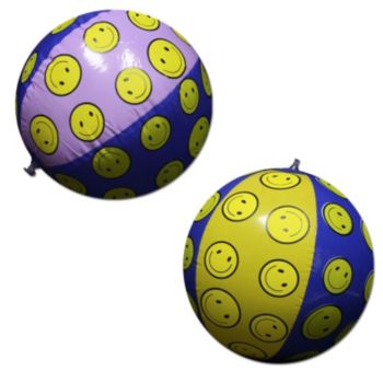 Inflatable Smiley Face Beach Balls - 16 Inch, 12 Pack