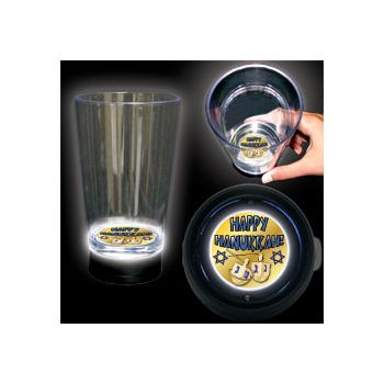 Happy Hanukkah Logo LED Bottom Lit Cup - 16 Ounce