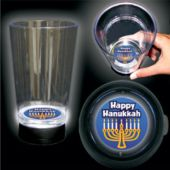 Hanukkah Menorah Logo LED Bottom Lit Cup - 16 Ounce