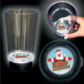 Merry Christmas Logo LED Bottom Lit Cup - 16 Ounce
