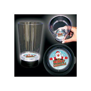 Merry Christmas Logo LED Bottom Lit Cup - 16 Ounce