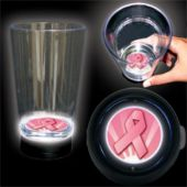 Pink Ribbon Logo LED Bottom Lit Cup - 16 Ounce