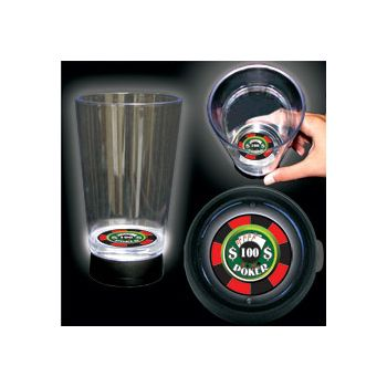 Casino Chip Logo LED Bottom Lit Cup - 16 Ounce
