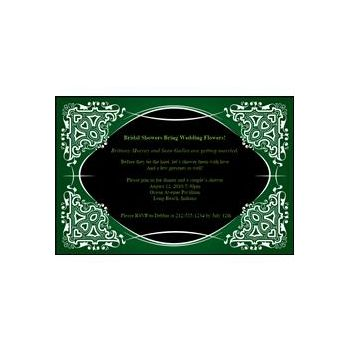Green on Black Kaleidoscope Personalized Invitations