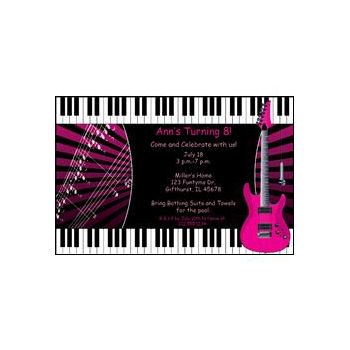 Pink Rock Guitar Personalized Invitations