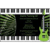 Green Rock Guitar Personalized Invitations