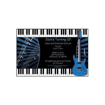 Blue Rock Guitar Personalized Invitations
