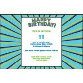 Blue Green Burst Personalized Invitations