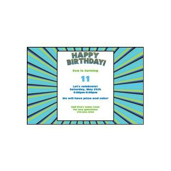Blue Green Burst Personalized Invitations