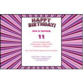 Purple Pink Burst Personalized Invitations