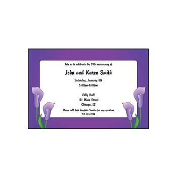 Purple Calla Lilly Personalized Invitations