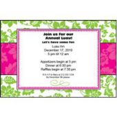 Green & Pink Floral Personalized Invitations