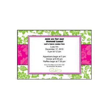 Green and Pink Floral Personalized Invitations
