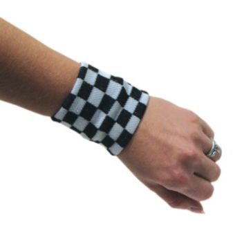 BLACK & WHITE CHECK WRISTBAND