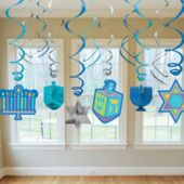 Hanukkah Swirl Decorations-12 Pack