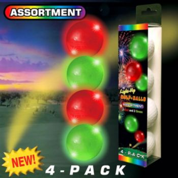 Night Golf Lighted Golf Balls 4 Pack Multi Color