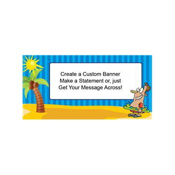 Cartoon Beach Party Custom Banner