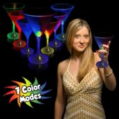 Multi-Color LED Martini Glass With White Stem - 7 Ounce