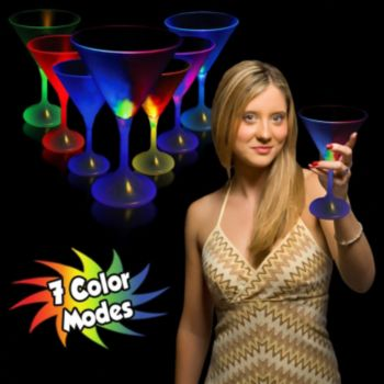 Multi-Color LED Martini Glass with White Stem - 10 Ounce