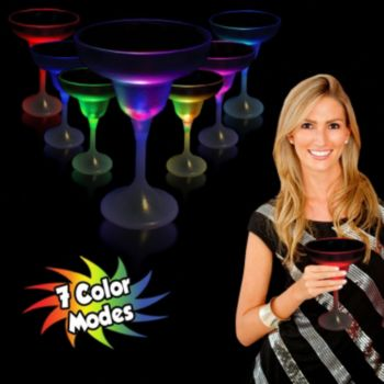 Multi-Color LED Margarita Glass with White Stem - 10 Ounce