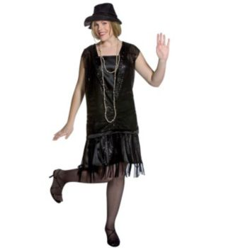 Gatsby Girl (Black) Plus Adult Costume