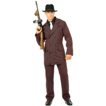 Gangster Double Breasted Suit (BlackRed) Adult Costume