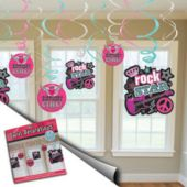 Rocker Girl Swirl Decorations-12 Pack