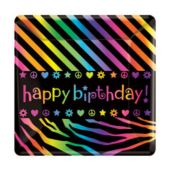 "Neon Retro 7"" Square Plates - 8 Pack"