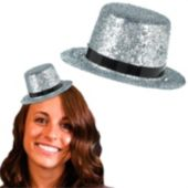 Silver Glitter Mini Top Hat