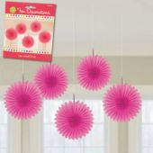 Pink Mini Hanging Fan Decorations-5 Per Unit