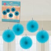 Blue Mini Hanging Fan Decorations-5 Pack