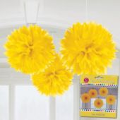 Yellow Fluffy Decorations-3 Pack