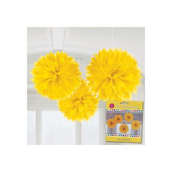 YELLOW FLUFFY DECORATIONS