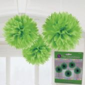 "Green Fluffy 16"" Decorations - 3 Pack"