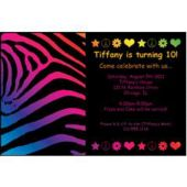 Neon Retro Birthday Personalized Invitations