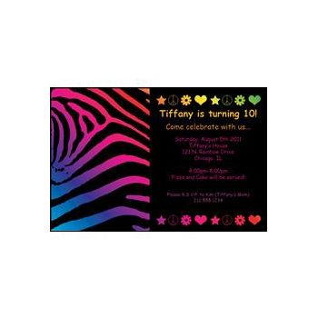 Neon Retro Birthday Custom Invitations