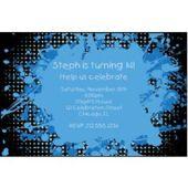 Blue Splatter Personalized Invitations
