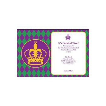Mardi Gras Crown Personalized Invitations