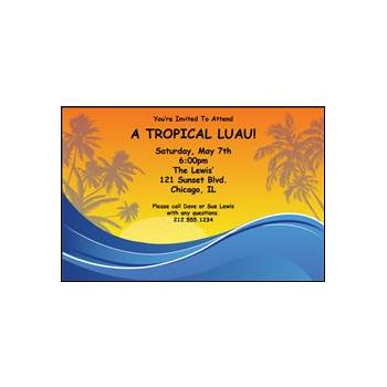 Tropical Sunset Personalized Invitations