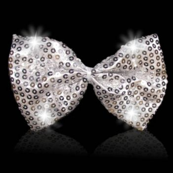 Silver Sequin Bow Tie with White LED's