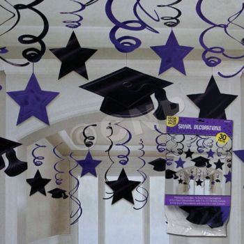 PURPLE GRADUATION HANGING SWIRLS