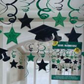 Green Graduation Swirl Decorations-30 Pack