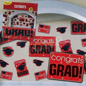 RED GRADUATION CUTOUTS