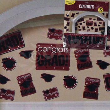 MAROON GRADUATION CUTOUTS