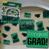 Green Graduation Cutouts-30 Pack
