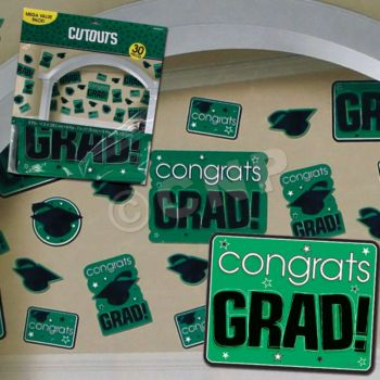 GREEN GRADUATION CUTOUTS