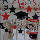 Red Graduation Swirls-30 Pack