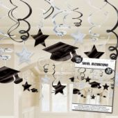 Black & White Graduation Swirls