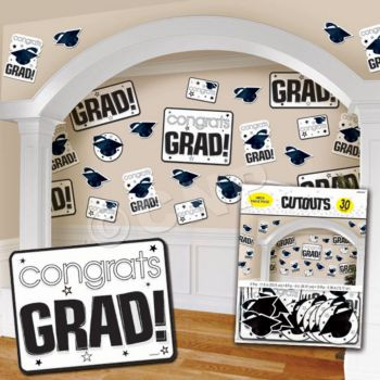 BLACK & WHITE GRADUATION CUTOUTS