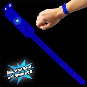 Blue Security Wrist Band with White LED Light